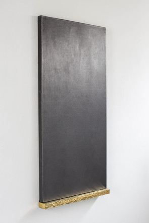 Untitled (James) ii, 2020, graphite, linen, brass, timber, 60 x 124 x 8 cm