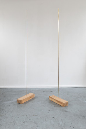 Solo i & Solo ii, 2020, both brass, oak, 45 x 183 x 20 cm