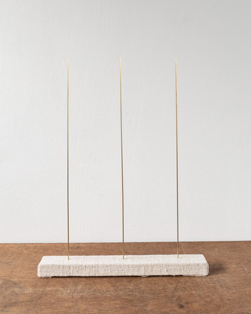 Trio IV, 2020, brass rods, timber, linen, 34 x 45 x 4 cm