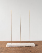 Trio IV, 2020, brass rods, timber, linen, 34 x 45 x 4 cm