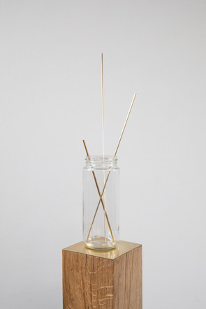 Proportion study with braising rods, 2020, glass, brass, custom oak and brass plinth, 110 x 10 x 10 cm