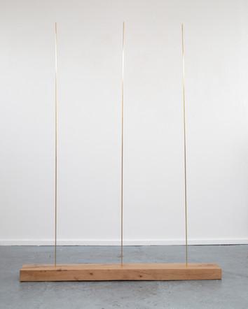 Trio, 2020, brass, oak, 135 x 180 x 20 cm