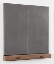 Untitled (Bob & Jos), 2018, graphite, linen, oak, steel, 50 x 54 x 6 cm