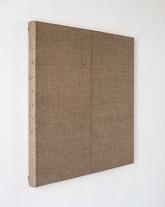 Benjamin & Jason, 2019, linen, steel tacks, timber, 60 x 60 x 4 cm, private collection Ghent Belgium