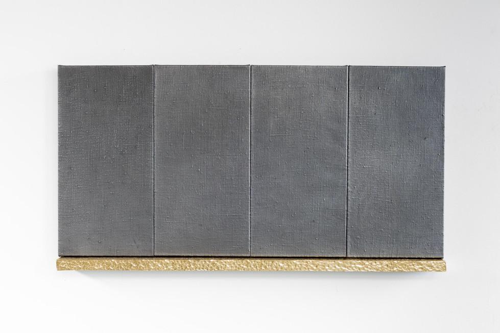 Untitled (Daniel, Joseph, Jacob, Samuel), 2020, graphite on linen, beaten brass, steel, 120 x 60 x 6 cm Private collection Brighton UK 