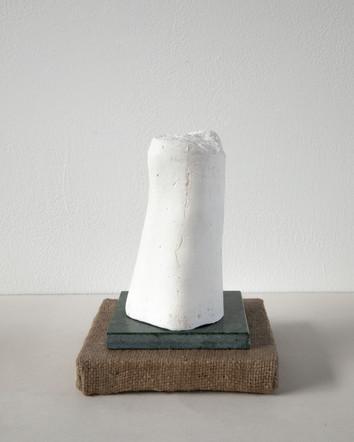Also Men iv, 2020, plaster, marble, jute, plywood, 15 x 22 x 15 cm
