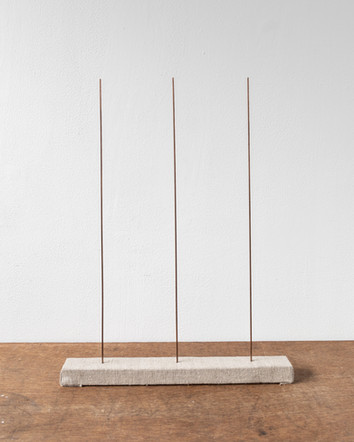 Trio IV, 2020, copper rods, timber, linen, 34 x 45 x 4 cm