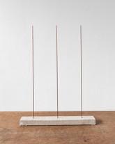 Trio IV, 2020, copper rods, timber, linen, 34 x 45 x 4 cm