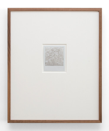 Slowly, Softly We Are Learning Together, 2017, silver leaf on polaroid in walnut frame (series of 7 works), 48.5 x 40 x 4.5 cm, private collections