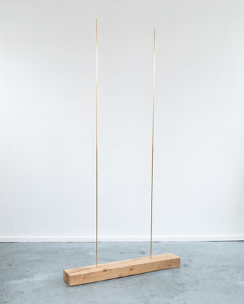 Duo, 2020, brass, oak, 90 x 180 x 20 cm