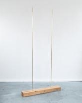 Duo, 2020, brass, oak, 90 x 180 x 20 cm