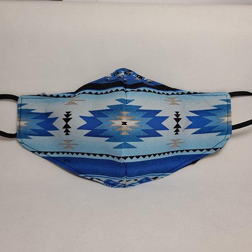 Handmade Blue Native Design Face Mask #1