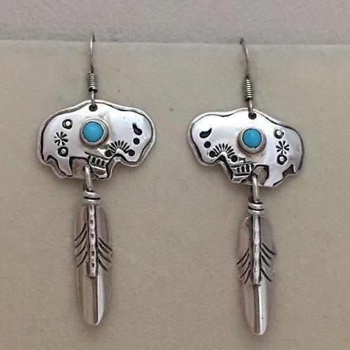 Navajo Sterling Silver Buffalo Feather Hook Earrings