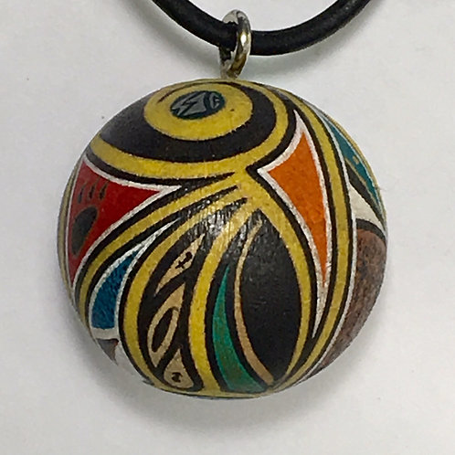 Zuni Cedar Wood Miniature Painted Pendant