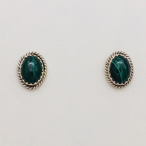 Navajo Sterling Silver Malachite Post Earrings