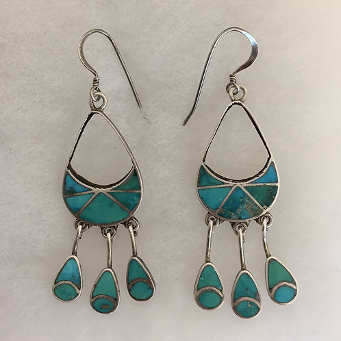 Zuni Sterling Silver Turquoise Chandelier Vintage Earrings