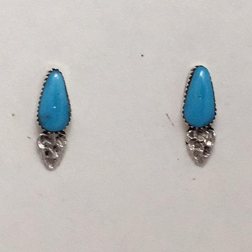 Zuni Sterling Silver Turquoise Post Earrings