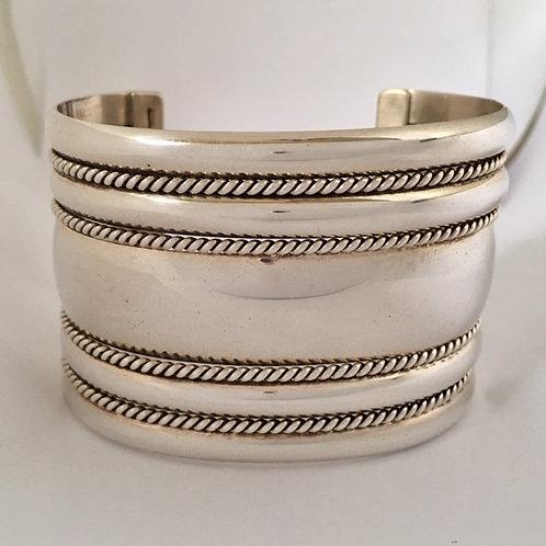 Navajo Sterling Silver Wide Cuff Bracelet