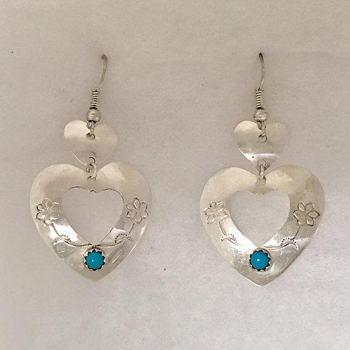 Navajo Sterling Silver Heart Turquoise Earrings