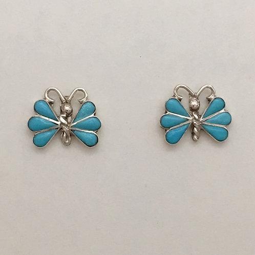 Zuni Sterling Silver Turquoise Butterfly Post Earrings