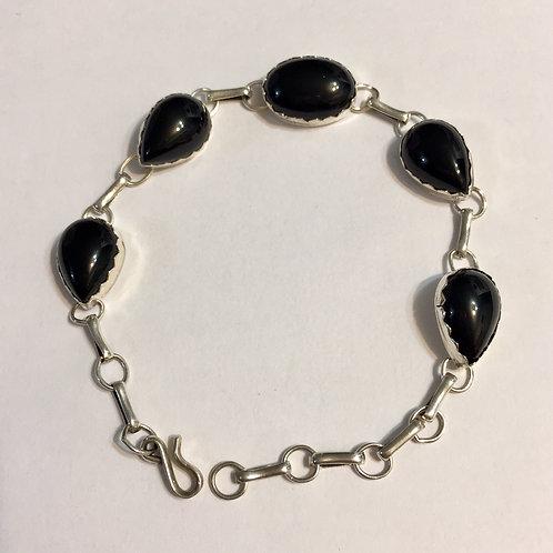 Navajo Sterling Silver Onyx Link Bracelet