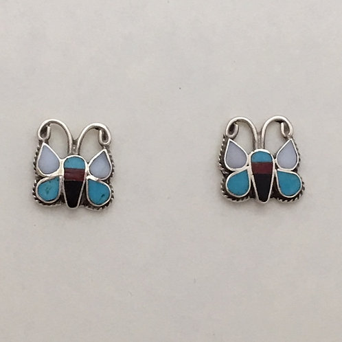 Zuni Sterling Silver Butterfly Post Earrings