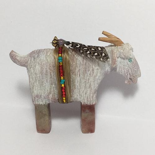 Navajo Alabaster Carved Goat Fetish Harold Davidson