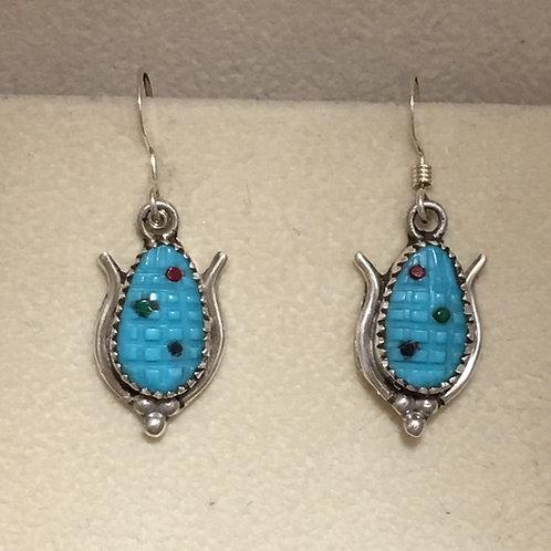 Zuni Sterling Silver Turquoise Corn Hook Earrings