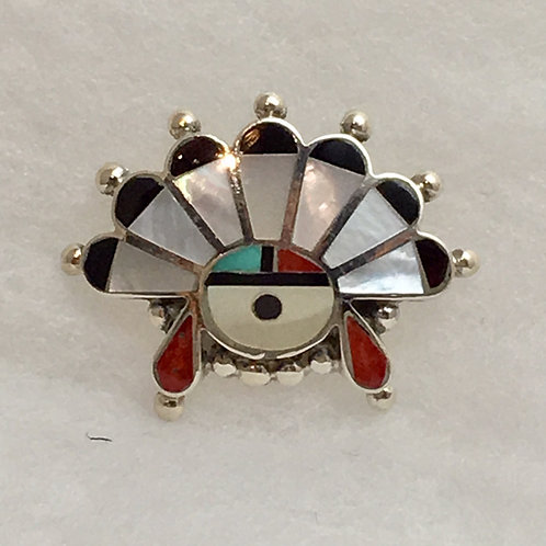 Zuni Sterling Silver Sunface Inlay Tie Tack