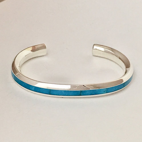 Zuni Sterling Silver Turquoise Inlay Cuff Bracelet