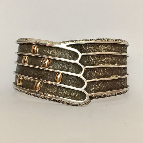 Navajo Sterling Silver 14k Gold Cuff Bracelet