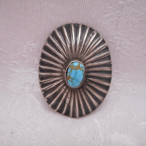 Sterling Silver Stamp Concho Turquoise Button