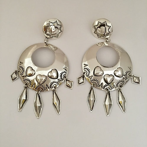 Navajo Sterling Silver Heart Stamp Round Post Earrings