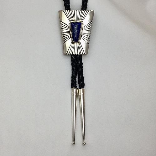 Navajo Sterling Silver Lapis Stone Bolo Tie