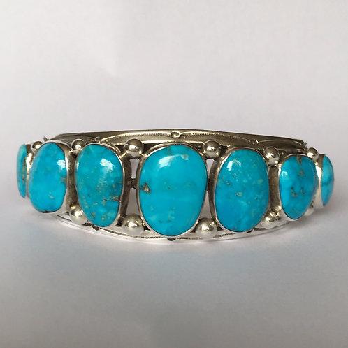 Navajo Sterling Silver Kingman Waterweb Cuff Bracelet