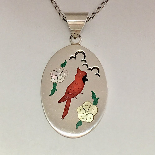Navajo Sterling Silver Red Robin Inlay Pendant