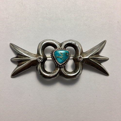 Navajo Sterling Silver Morenci Turquoise Vintage Pin Brooch