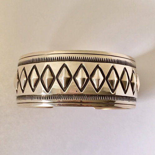 Navajo Sterling Silver Diamond Stamp Cuff Bracelet