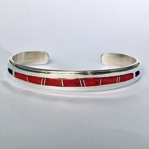 Navajo Sterling Silver Coral Inlay Cuff Bracelet