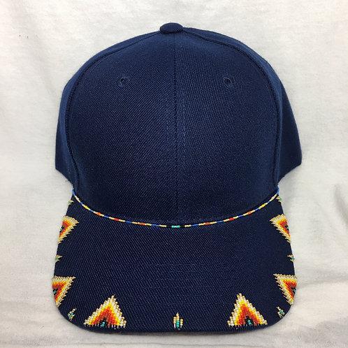 Navajo/Hopi Beaded Navy Cap Velcro