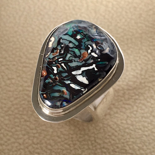 Navajo Sterling Silver Australian Bolder Opal Ring