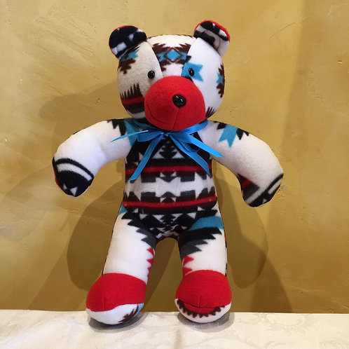 Navajo Handmade White Pendleton Teddy Bear Blu Collar