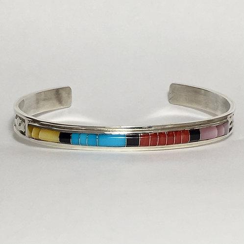 Zuni Sterling Silver Coral Jet Inlay Cuff Bracelet