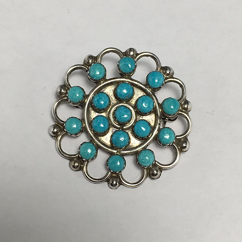 Zuni Sterling Silver Turquoise Cluster Pin Pendant