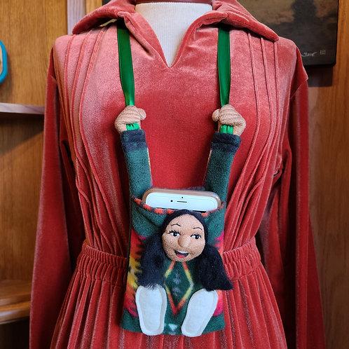 Green Navajo Fleece Cell Phone Holder