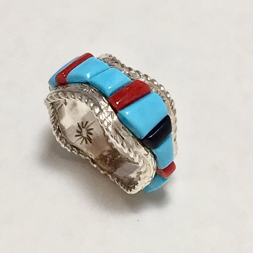 Zuni Sterling Silver Turquoise Inlay Ring Size 6 3/4