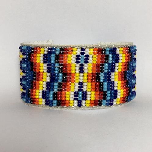 Navajo Native Beaded Wide Cuff Bracelet