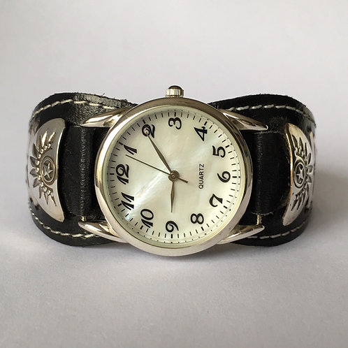 Navajo Sterling Silver Leather Cuff Watch Bracelet