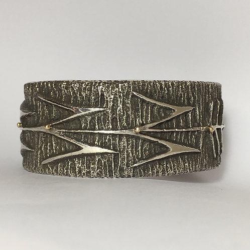 Navajo Sterling Silver 14k Corn Design Cuff Bracelet