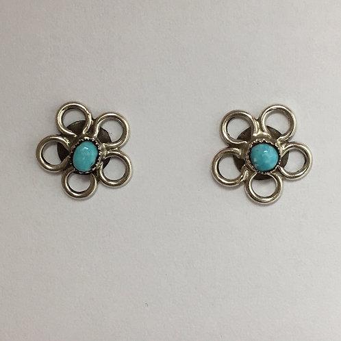 Zuni Turquoise Flower Post Earrings